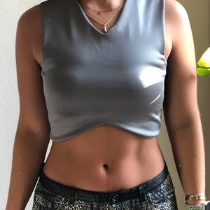 Cute Gray Cropped Top